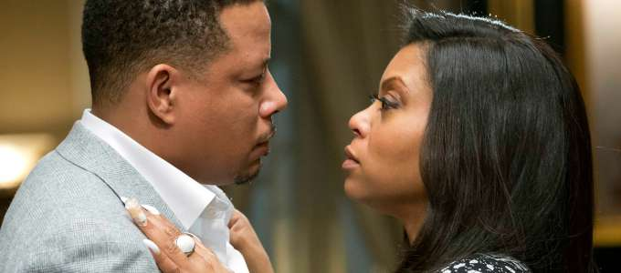 """***TV STILL DO NOT PURGE*** EMPIRE: Lucious (Terrence Howard, L) and Cookie (Taraji P. Henson, R) share a moment in the """"Our Dancing Days"""" episode airing Wednesday, Feb. 18 (9:01-10:00 PM ET/PT) on FOX. ©2014 Fox Broadcasting Co. CR: Chuck Hodes/FOX"""