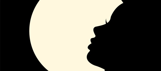 Female silhouette on a white background. Vector illustration.